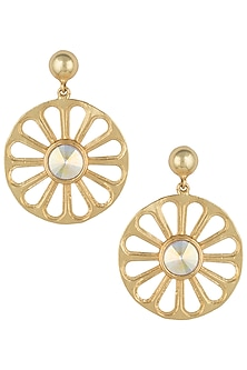 Gold plated wheel long earrings by Valliyan by Nitya Arora