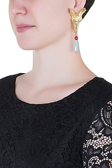 Gold plated ram head blue stone earrings