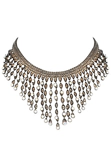 Gunmetal plated twisted candy necklace by Valliyan by Nitya Arora