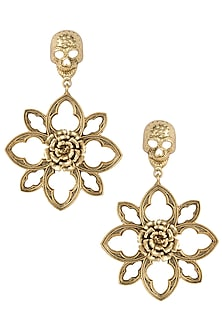 Gold plated skull floral earrings by Valliyan by Nitya Arora