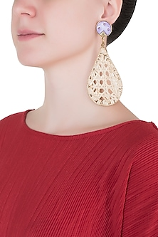 Beige drop cane earrings