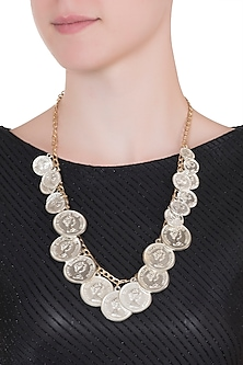 Gold plated layered silver coin necklace by Valliyan by Nitya Arora