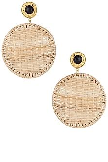 Beige round cane earrings by Valliyan by Nitya Arora