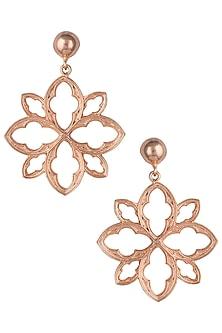 Rose gold plated floral earrings by Valliyan by Nitya Arora