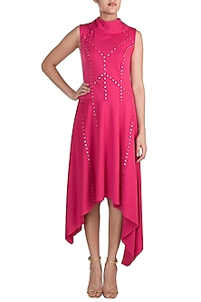 Fuchsia Asymmetric Collared Dress by Vidhi Wadhwani