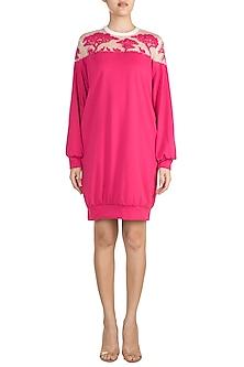 Fuchsia Ikigai Applique Dress by Vidhi Wadhwani