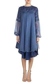 Cobalt Blue Layered Dress With Balloon Sleeves by Vidhi Wadhwani