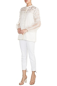 Off White Embellished Shirt by Vidhi Wadhwani
