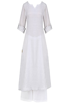 Steel Grey 'A' Line Abstract Pita Embroidery Kurta with off White Palazzos