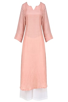 Peach 'A' Line Abstract Pita Embroidery Kurta with off White Palazzos