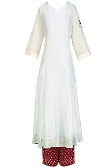 Off White 'A' Line Pita Work Dragonfly Embroidery Kurta with Bandhini Palazzos