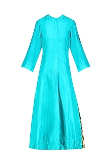 Turquoise 'A' Line Pita Work Cycle Embroidery Kurta with Bandhini Palazzos