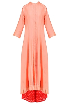Peach 'A' Line Dragonfly Pita Work Embroidery Kurta with Tomato Red Bandhini Palazzos
