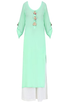 Mint Green Straight Fit Kurta with off White Palazzos and Pink Gota Work Dupatta