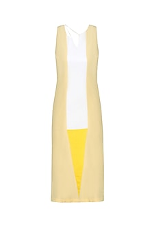 Cream and White Panelled Knee Length Shift Dress