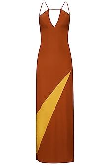 Orange Low Back Strappy Column Dress