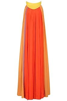 Orange Long Gathers Maxi Dress