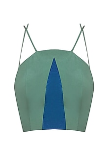 Green and Blue Insert Panelled Crop Top