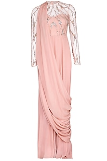 Pink Embroidered Drape Gown by VIVEK PATEL