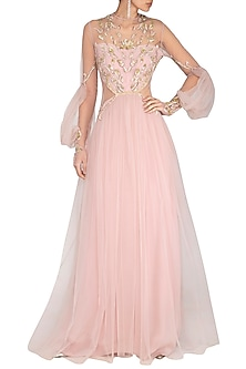 Pink Embroidered Pleated Gown by VIVEK PATEL