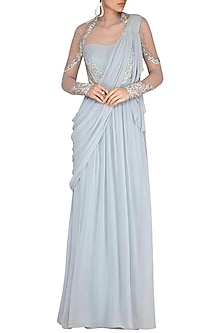 Light Blue Embroidered Saree Gown by VIVEK PATEL