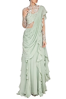 Mint Green Embroidered Saree Gown by VIVEK PATEL