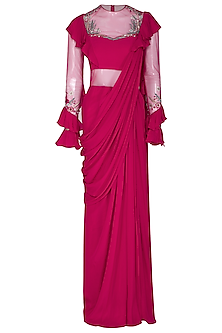 Fuchsia Embroidered Saree Gown With Frills by VIVEK PATEL