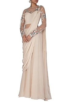 Ecru Embroidered Saree Gown by VIVEK PATEL