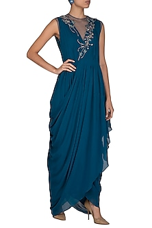 Teal Embroidered Gown by VIVEK PATEL
