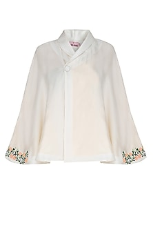 Off White Floral Embroidered Voluminous Poncho Jacket