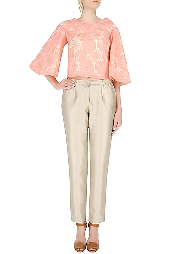 Off White And Peach Floral Embroidery Flared Top by Vidhi Anand