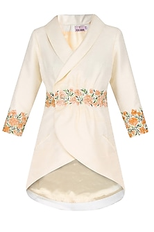 Cream Floral Embroidery Overlapped Asymmetric Long Jacket