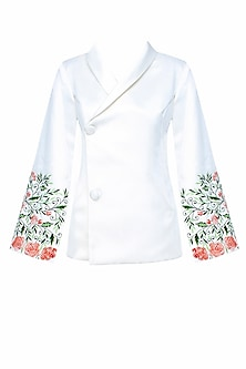 Off White Floral Embroidery Bell Sleeves Blazer