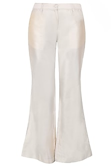 Beige Bell Bottom Pants