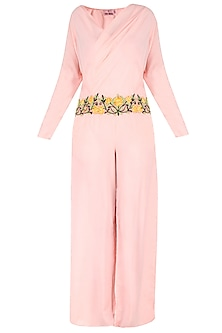 Light Pink Jumpsuit Floral Floral Thread Applique Work Jumpsuit