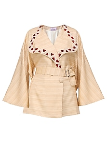 Brown Two Tone Applique Work Striped Overlapped Jacket