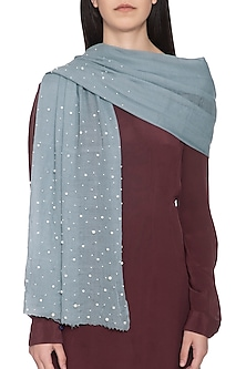 Light blue embroidered dyed stole