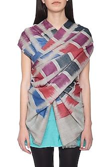 Multicolour handwoven geometric ikkat shawl