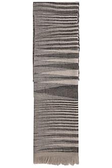 Black handwoven ikkat stole by Vilasa