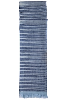 Blue handwoven ikkat stole by Vilasa