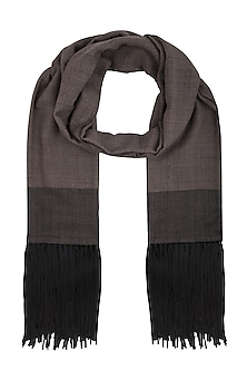Black colour block fringes stole by Vilasa