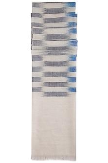 Blue handwoven geometric ikkat stole by Vilasa