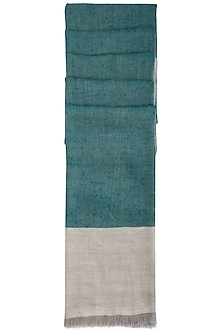 Teal handwoven colour block ikkat shawl by Vilasa