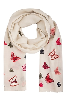 Off white butterfly embroidered stole by Vilasa