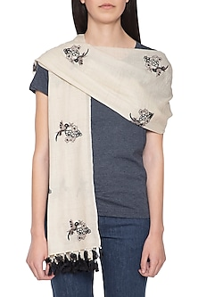 White embroidered hand woven stole