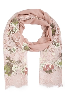 Blush pink embroidered stole by Vilasa