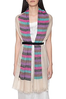 Off white handwoven striped stole