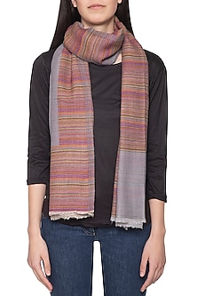 Grey striped reversible stole