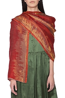 Red reversible zari stole by Vilasa