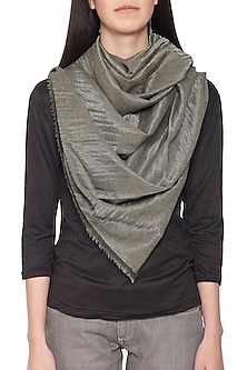 Black zari and solid tone reversible stole by Vilasa